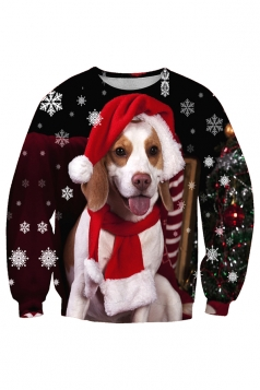 Crew Neck Dog Snowflake Printed Christmas Sweatshirt Beige White