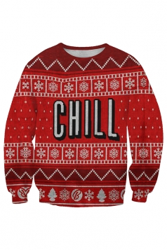 Womens Crew Neck Snowflake Christmas Tree Printed Sweatshirt Coral