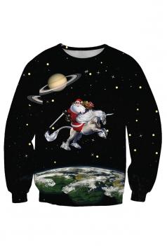 Womens Crew Neck Santa Printed Christmas Sweatshirt Dull Black
