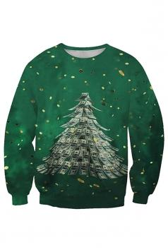 Womens Crew Neck Christmas Tree Printed Sweatshirt Dark Green