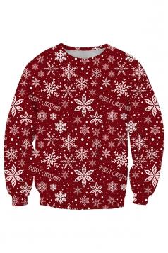 Womens Crew Neck Snowflake Printed Christmas Sweatshirt Dark Red