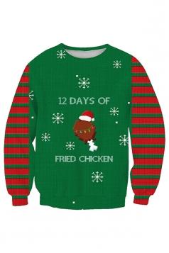 Womens Stripe Snowflake Santa Hat Christmas Sweatshirt Emerald Green
