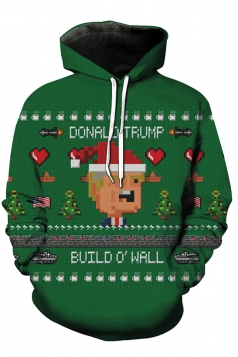 Womens Crew Neck Santa Hat Christmas Tree Printed Sweatshirt Green