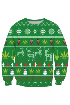 Snowflake Snowman Christmas Tree Printed Sweatshirt Oliver Green