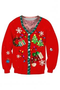 Crew Neck Tree Snowflake Stocking Printed Christmas Sweatshirt Orange