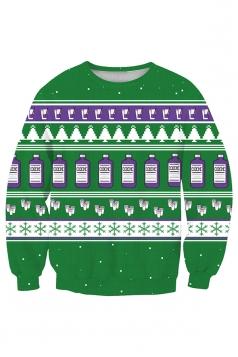 Womens Crew Neck Snowflake Christmas Tree Printed Sweatshirt Purple