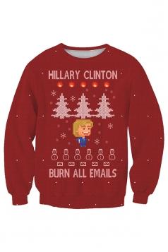 Womens Crew Neck Snowflake Christmas Tree Printed Sweatshirt Red