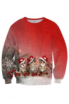 Womens Crew Neck Cat Santa Hat Printed Christmas Sweatshirt Ruby