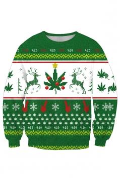 Womens Crew Neck Reindeer Snowflake Christmas Sweatshirt White
