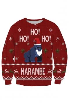 Womens Crew Neck Snowflake Santa Hat Printed Christmas Sweatshirt Ruby