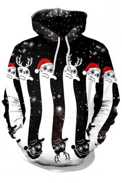 Womens Kangaroo Pocket Reindeer Printed Christmas Hoodie Dull Black