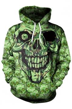 Womens Kangaroo Pocket One-Eyed Skull Printed Halloween Hoodie Green