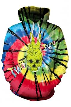 Womens Pocket Alien Skeleton Printed Halloween Hoodie Multicolour