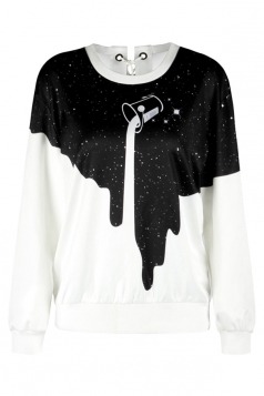 Long Sleeve Galaxy Printed Eyelet Lace Up Sweatshirt Black And White
