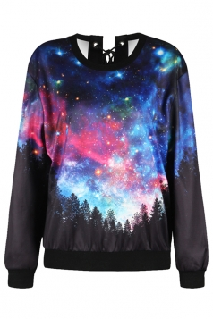 Womens Long Sleeve Galaxy Printed Eyelet Lace Up Sweatshirt Navy Blue