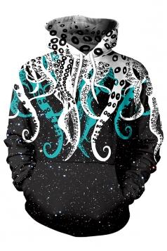 Womens Kangaroo Pocket Pullover Octopus Printed Hoodie Black And White
