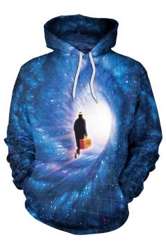Womens Kangaroo Pocket Pullover Galaxy Printed Hoodie Sapphire Blue
