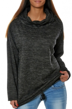 Womens Drawstring Crew Neck Batwing Sleeve Plain Pullover Hoodie Black