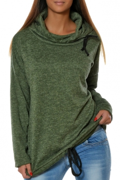 Womens Drawstring Crew Neck Batwing Sleeve Plain Pullover Hoodie Green