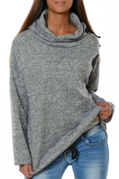 Womens Drawstring Crew Neck Batwing Sleeve Plain Pullover Hoodie Gray