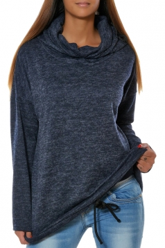 Drawstring Crew Neck Batwing Sleeve Plain Pullover Hoodie Navy Blue