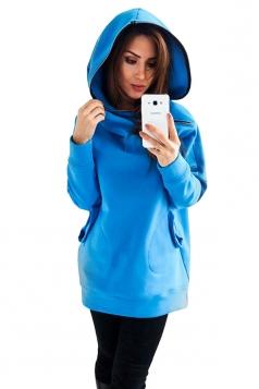 Womens Long Sleeve Zipper Slant Pocket Plain Hoodie Light Blue