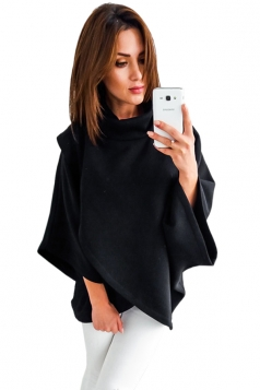 Womens High Collar Batwing Sleeve Plain Pullover Sweater Black