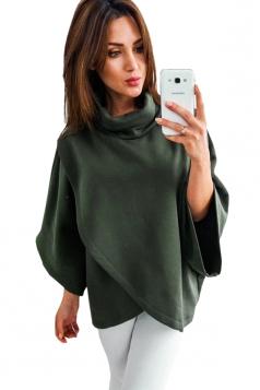 Womens High Collar Batwing Sleeve Plain Pullover Sweater Green