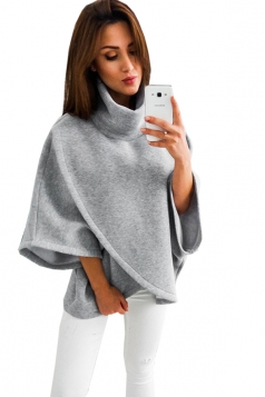 Womens High Collar Batwing Sleeve Plain Pullover Sweater Gray