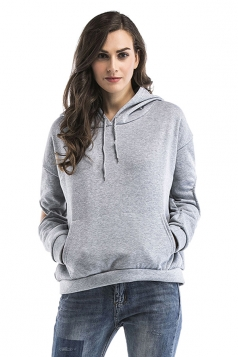 Womens Cut Out Long Sleeve Kangaroo Pocket Plain Pullover Hoodie Gray