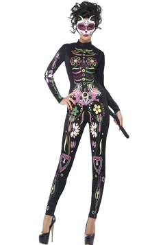 Womens Long Sleeve High Waisted Flower Printed Cat Costume Jumpsuit