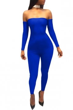 Womens Off Shoulder Cross Lace Up Close-Fitting Jumpsuit Sapphire Blue