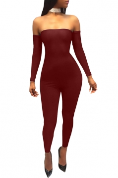 Womens Off Shoulder Cross Lace Up Close-Fitting Plain Jumpsuit Ruby