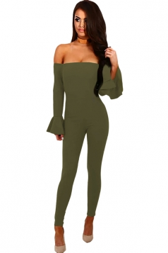 Women Off Shoulder Bell Sleeve Close-Fitting Plain Jumpsuit Army Green