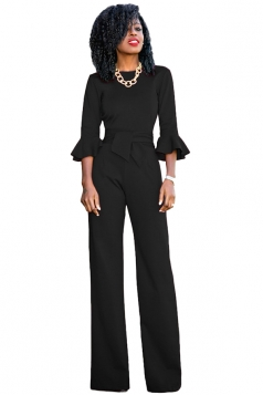 Womens Elegant Crew Neck Bell Sleeve Bandage Wide Leg Jumpsuit Black