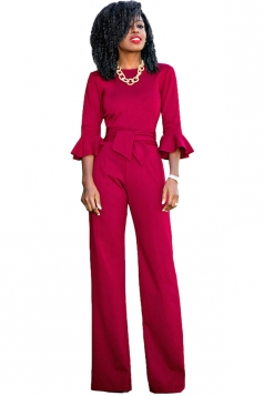 Womens Elegant Crew Neck Bell Sleeve Bandage Wide Leg Jumpsuit Ruby
