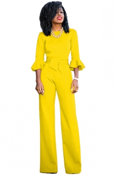 Womens Elegant Crew Neck Bell Sleeve Bandage Wide Leg Jumpsuit Yellow