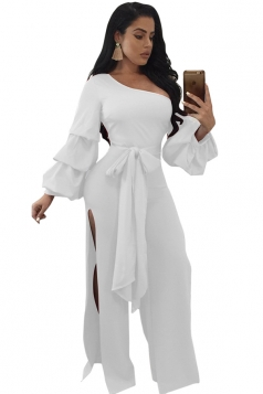 Womens One Shoulder Slit Front Bow Ruffle Bell Sleeve Jumpsuit White