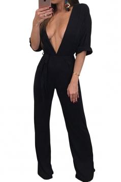 Womens Sexy High Waist Deep V Neck Half Sleeve Bow Jumpsuit Black