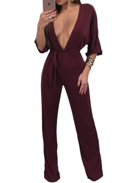 Womens Sexy High Waist Deep V Neck Half Sleeve Bow Jumpsuit Ruby