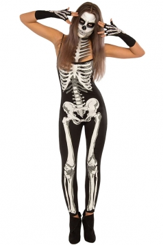 Womens Halloween Straps Skeleton Printed Jumpsuit Black And White
