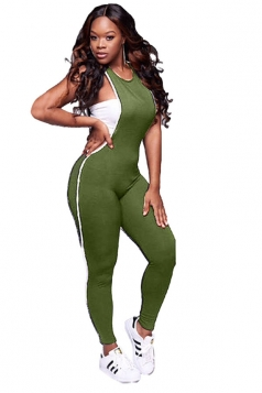Womens Sexy Close-Fitting Sleeveless Plain Tank Jumpsuit Green