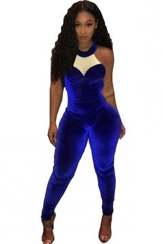 Women Halter Crew Neck Sleeveless Close-Fitting Jumpsuit Sapphire Blue