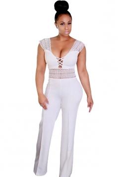 Womens Sexy High Waisted Lace Sleeveless Plain Jumpsuit White