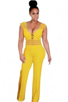 Womens Sexy High Waisted Lace Sleeveless Plain Jumpsuit Yellow