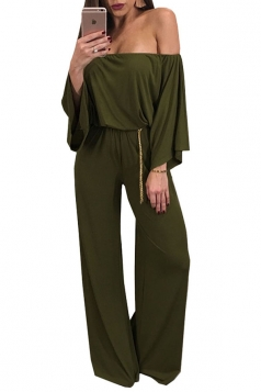 Womens Sexy Off Shoulder Bell Sleeve Ruffle Plain Jumpsuit Army Green