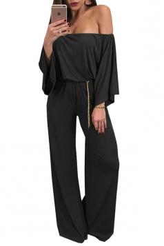 Womens Sexy Off Shoulder Bell Sleeve Ruffle Plain Jumpsuit Black