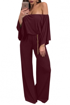 Womens Sexy Off Shoulder Bell Sleeve Ruffle Plain Jumpsuit Ruby