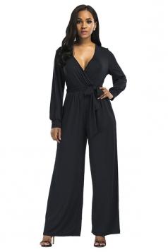 Womens Sexy Long Sleeve Deep V-Neck Bandage Bow Plain Jumpsuit Black