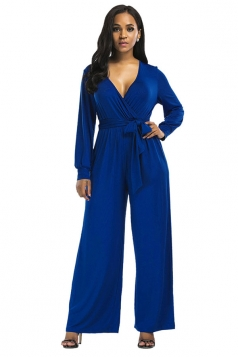 Womens Sexy Long Sleeve Deep V-Neck Bandage Jumpsuit Sapphire Blue
